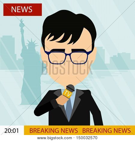Breaking news on tv. Male news reporter with microphone sitting at the table. Latest information. Tv screen with headline.