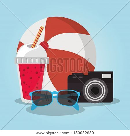 Smoothie drink ball glasses and camera icon. Summer fresh and organic theme. Colorful design. Vector illustration