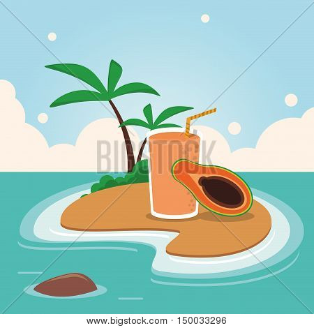 Smoothie drink papaya and island with palm tree icon. Summer fresh and organic theme. Colorful design. Vector illustration