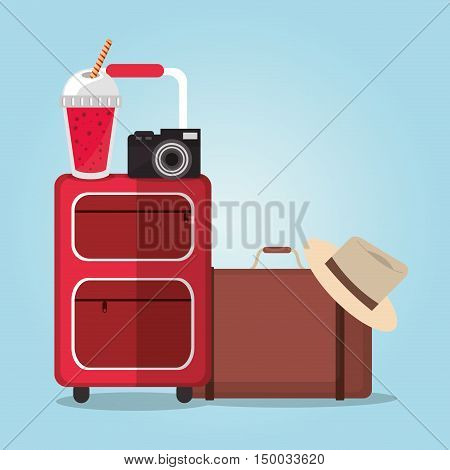 Smoothie drink luggage camera and hat icon. Summer fresh and organic theme. Colorful design. Vector illustration