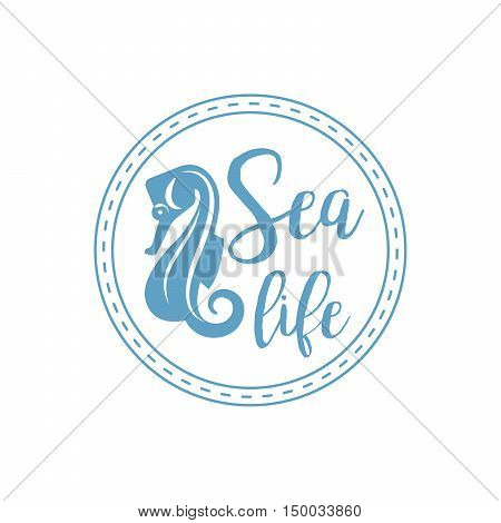 Sea life lettering design with sea horse isolated on white. Vector illustration