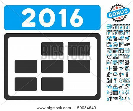 2016 Calendar Grid icon with bonus calendar and time management images. Vector illustration style is flat iconic bicolor symbols, blue and gray colors, white background.