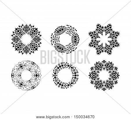 Black ethnic ornamental cirular frames set. Vector illustration