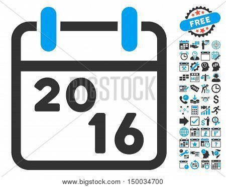 2016 Calendar icon with bonus calendar and time management clip art. Vector illustration style is flat iconic bicolor symbols, blue and gray colors, white background.