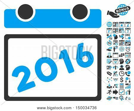 2016 Calendar icon with bonus calendar and time management pictograph collection. Vector illustration style is flat iconic bicolor symbols, blue and gray colors, white background.