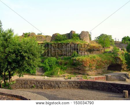 ancient structures fortress on Moraca River bank Podgorica Montenegro poster