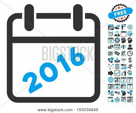 2016 Calendar pictograph with bonus calendar and time management images. Vector illustration style is flat iconic bicolor symbols, blue and gray colors, white background.