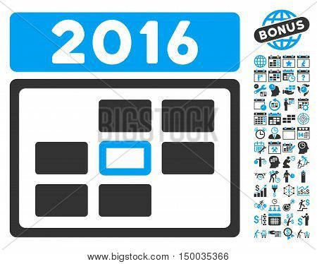 2016 Date pictograph with bonus calendar and time management symbols. Vector illustration style is flat iconic bicolor symbols, blue and gray colors, white background.