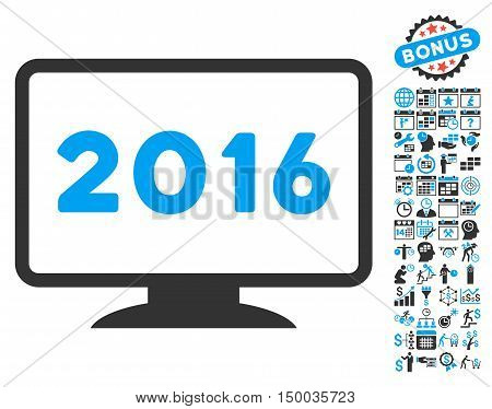 2016 Display icon with bonus calendar and time management symbols. Vector illustration style is flat iconic bicolor symbols, blue and gray colors, white background.
