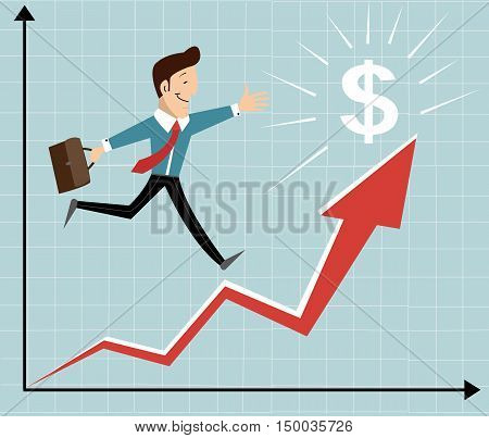 growth increase in earnings. Running up the career ladder. Business vector illustration