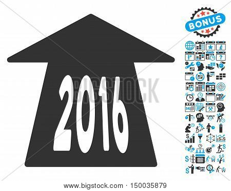 2016 Future Road pictograph with bonus calendar and time management pictogram. Vector illustration style is flat iconic bicolor symbols, blue and gray colors, white background.