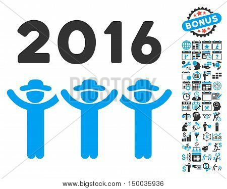 2016 Guys Dance pictograph with bonus calendar and time management elements. Vector illustration style is flat iconic bicolor symbols, blue and gray colors, white background.