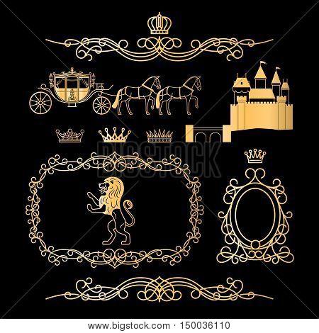 Golden vintage royal elements and princess decor elements in line style. Vintage royalty frame with crown, princess castle and royal lion. Vcetor illustration