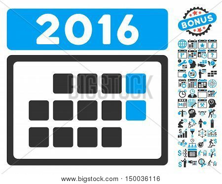 2016 Month Calendar icon with bonus calendar and time management pictures. Vector illustration style is flat iconic bicolor symbols, blue and gray colors, white background.