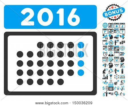 2016 Month Calendar pictograph with bonus calendar and time management icon set. Vector illustration style is flat iconic bicolor symbols, blue and gray colors, white background.