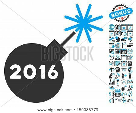 2016 Petard pictograph with bonus calendar and time management pictures. Vector illustration style is flat iconic bicolor symbols, blue and gray colors, white background.