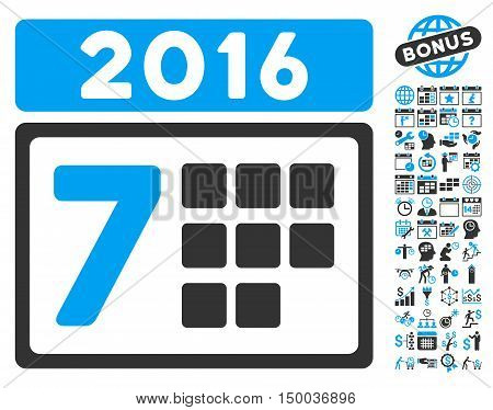 2016 Week Calendar pictograph with bonus calendar and time management design elements. Vector illustration style is flat iconic bicolor symbols, blue and gray colors, white background.