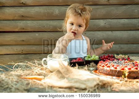 Cute little boy in white pinafore eats berries raspberry gooseberry cherry currant at table with fruit cake and cup of milk on wooden background
