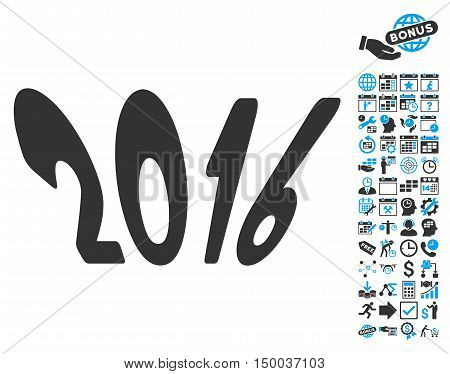 2016 Year icon with bonus calendar and time management clip art. Vector illustration style is flat iconic bicolor symbols, blue and gray colors, white background.