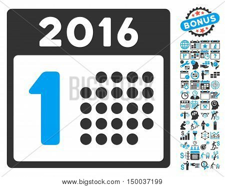 First 2016 Day pictograph with bonus calendar and time management clip art. Vector illustration style is flat iconic bicolor symbols, blue and gray colors, white background.