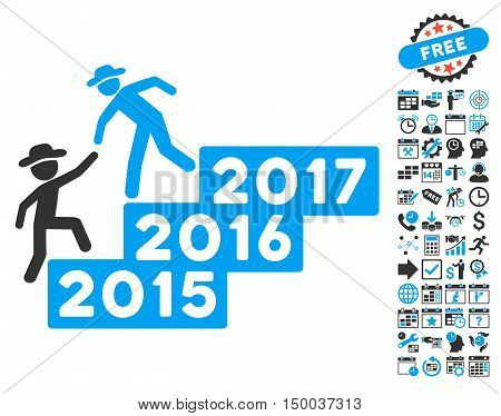 Gentleman Annual Help icon with bonus calendar and time management pictures. Vector illustration style is flat iconic bicolor symbols, blue and gray colors, white background.