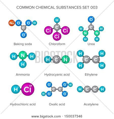 Molecular structures of common chemical substances isolated on white