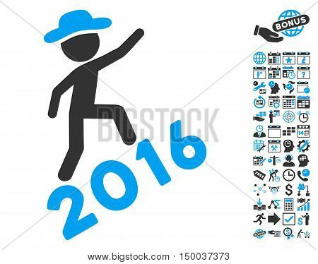 Gentleman Climbing 2016 pictograph with bonus calendar and time management images. Vector illustration style is flat iconic bicolor symbols, blue and gray colors, white background.