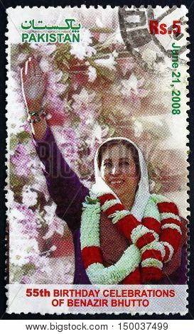 PAKISTAN - CIRCA 2008: a stamp printed in Pakistan shows Mohtarma Benazir Bhutto 55th Birthday Celebration circa 2008