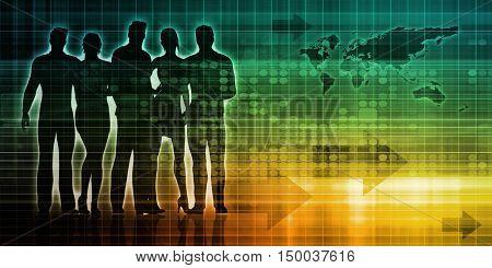 Crowdsourcing or a Crowd Sourcing Technology Art 3D Illustration Render
