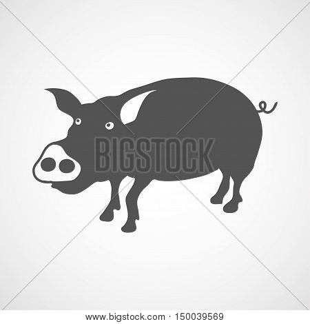 Vector flat pig icon. Isolated. Black silhouette pig for polygraphy web design logo app UI. Pig icon for posters greeting cards book cover flyers banner web game designs.