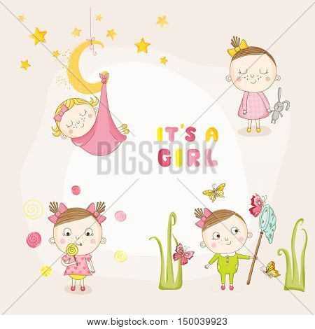 Set of Baby Girl - for Baby Shower or Arrival Card - in vector