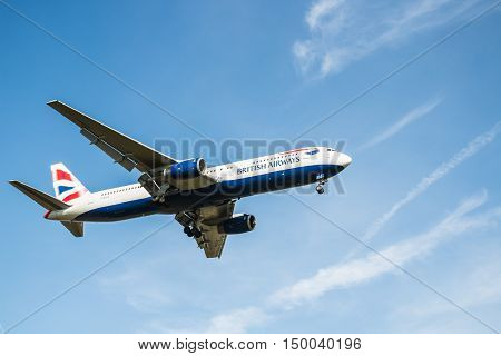 London, Heathrow, UK - 03 october 2016: Boeing 747 British Airways landing at London Heathrow airport