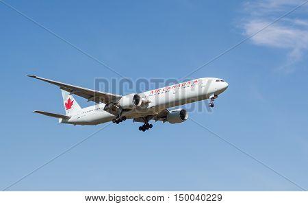 London, Heathrow, UK - Boeing 777 Air Canada landing at London Heathrow airport