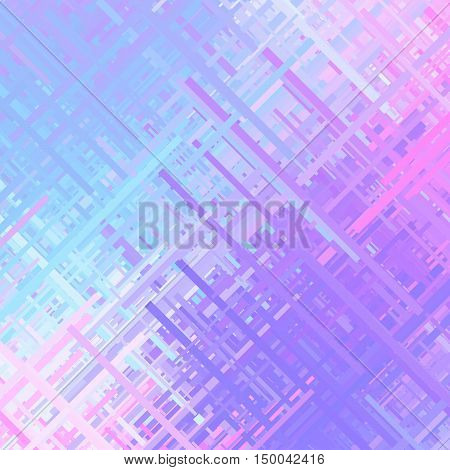 Pastel violet glitch background, distortion effect, abstract texture, random trend color diagonal lines for design concepts, posters, presentations and prints. Vector illustration.
