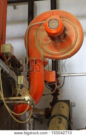 Boiler room detail.Fan part of the boiler.