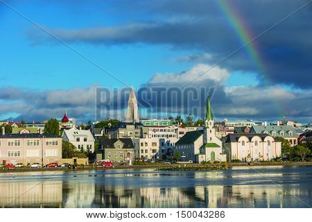 View Of Reykjavik's Downtown At Sunset