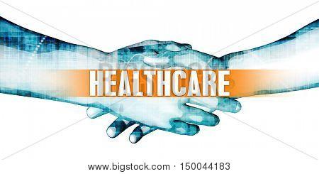 Healthcare Concept with Businessmen Handshake on White Background 3D Illustration Render