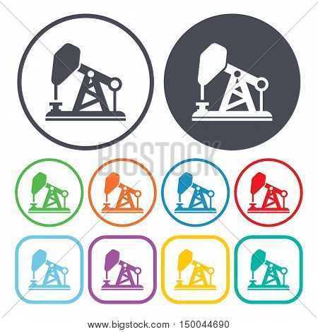 vector illustration of  oil pumping icon in simple style isolated on background. Stock vector symbol.