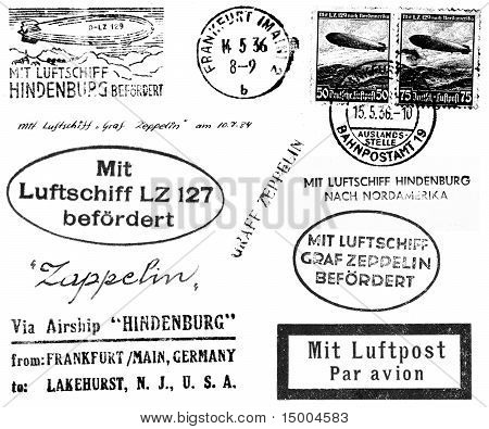 A collection of black and white postmarks and related markings from mail carried on the Hindenburg and Graf Zeppelin in the 1930s. Isolated on white. poster