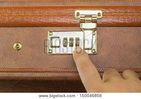 open suitcase brown  lock, luggage with security code