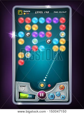 Illustration of a funny graphic sample of bubble shooter game interface design in cartoon style with buttons icons and status bar