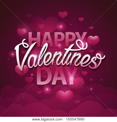 Happy valentines day script text on pink background with hearts. Vector illustration EPS10