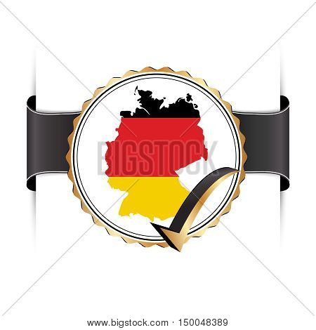 Germany stamp / label / ribbon with the map and flag of Germany. Copy-space for your own text.