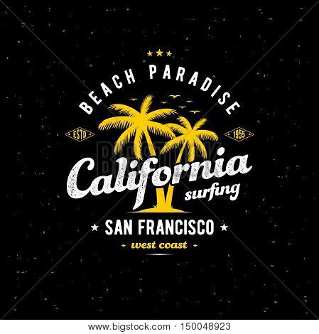 California typography for t-shirt print. Apparel fashion design. Vector illustration