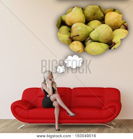 Woman Craving Pears and Thinking About Eating Food 3D Render