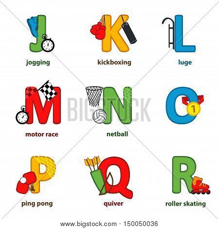 alphabet sport from J to R - vector illustration, eps