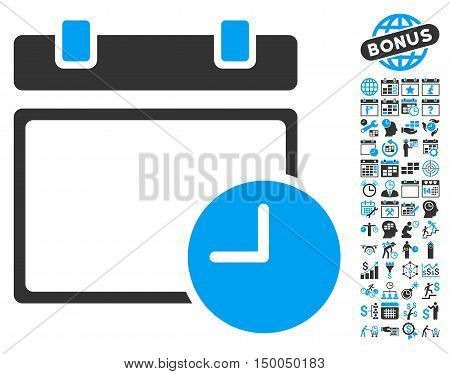 Calendar Page and Time pictograph with bonus calendar and time management graphic icons. Vector illustration style is flat iconic bicolor symbols, blue and gray colors, white background.