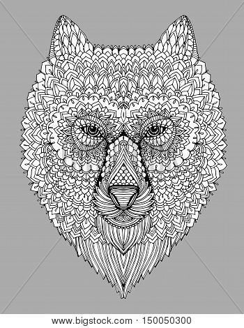 Portrait Of A Wolf. The Dog's Head. Line Art. Black And White Drawing By Hand. Stylized. Decorative.
