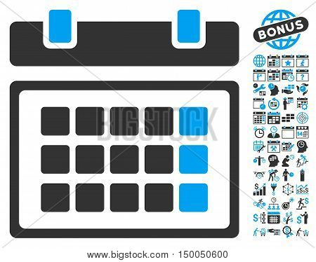 Calendar icon with bonus calendar and time management design elements. Vector illustration style is flat iconic bicolor symbols, blue and gray colors, white background.