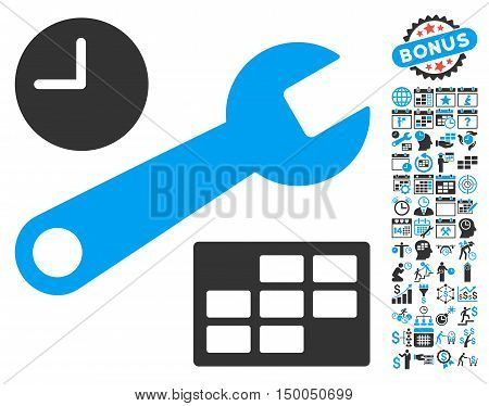 Date and Time Setup pictograph with bonus calendar and time management graphic icons. Vector illustration style is flat iconic bicolor symbols, blue and gray colors, white background.